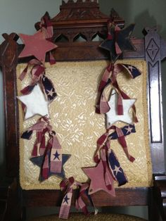 Primitive Americana Patriotic Red White and Blue Star Garland with Homespun on Etsy, $21.99
