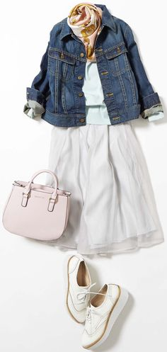 White summer skirt with denim jacket