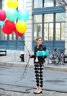 Traffic stopper: Olivia's party accessories were a great substitute for a traffic signal