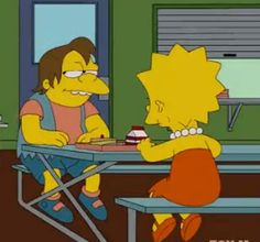 Awwwww!!! Lisa and Nelson are eating lunch together!!!!