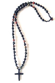 HANDMADE ROZARIUM WITH ONYX AND JASPER SEMI PRECIOUS STONES Jasper, Beaded Necklace, Stones, Handmade, Jewelry, Beaded Collar, Rocks, Hand Made, Jewlery