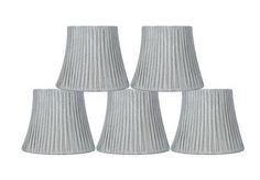 "Urbanest Box Pleated Mini Chandelier Lamp Shade Silver 3x6x5"" Softback Clip On Set of 5"