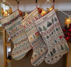 Palace of Leaves: Three Cross-stitched Christmas Stockings