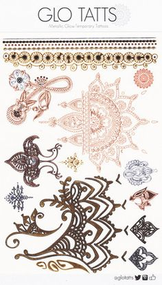 NEW ~ GLO TATTS® Henna Pack (large size sheet) Metallic Glow in the in Dark Temporary tattoos gold rose gold babe sunshine love