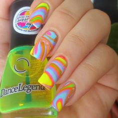 Multicolor water marble nail art for summer :: one1lady.com :: #nail #nails #nailart #manicure