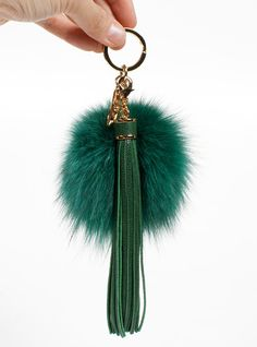 Fur pom pom Key chain with Leather tassels - Green  Make your handbags look cute with pompom key ring with leather tassels! :) Also, you can