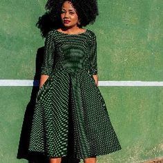 Green Flared African Print Seshoeshoe Seshweshwe Ankara dress