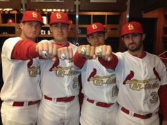 Cardinals players showing off their 2011 World Series Championship Rings. L to R: David Freese, Allen Craig, John Jay and Daniel DeScalso. St Louis Baseball, St Louis Cardinals Baseball, Stl Cardinals, 2011 World Series, World Series Rings, Hockey, Baseball Players, Baseball Season, Nfl Football