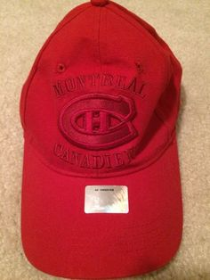 afc245056cf Montreal Canadien Red Adjustable Hat NHL Hockey Velcro Red