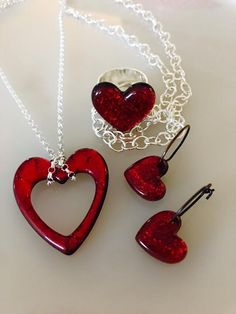 Handmade, fused glass jewelry by Miss Olivia's Line. #Hearts #ValentinesDay…