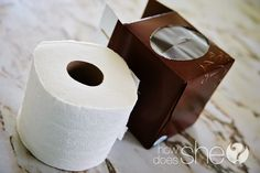 Instead of facial tissues, use toilet paper, which  costs less. Remove the cardboard core from a roll and throw away. Then  place the roll inside an empty square tissue box and pull from the  center of the roll through the opening. Reuse the same box over and over! Nice.