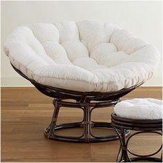 Gentil Ivory Faux Fur Papasan Cushion: White By World Market
