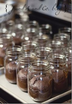 Mason jar cake! Perfect for adding that ice cream scoop! And no messes serving it. I like it!