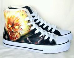 Hand painted fire skull shoes custom painted shoes,High-top Painted Canvas Shoes