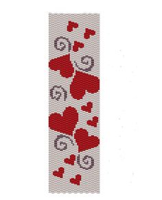 Red Hearts Peyote Pattern - red and white peyote cuff pattern (Buy 2 patterns, Get 1 Free) via Etsy Peyote Beading Patterns, Peyote Stitch Patterns, Seed Bead Patterns, Beaded Bracelet Patterns, Loom Beading, Heart Bracelet, Cross Stitch Patterns, Bead Loom Patterns, Loom Bracelets