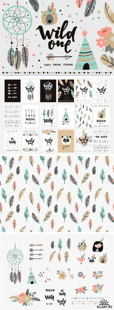 Boho Vector Card Poster, Be Wild - 1276156