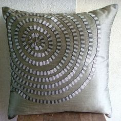 Throw Pillow Covers Accent Pillow Decorative Pillow Couch Sofa Pillow 16x16 Inches Silk Pillow Cover Silver Pipes Embroidery Metallic Rings via Etsy