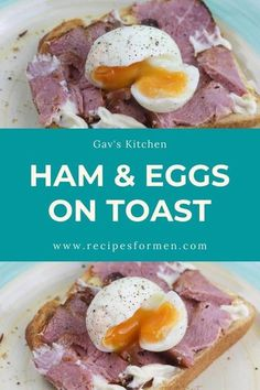 What a great breakfast - quick and easy to make and super tasty! Ham and eggs on toast, creamed eggs and ham on toast, ham and eggs toast, ham and cheese baked eggs in toast, ham eggs toast, ham eggs… More