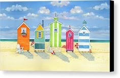 Brighton Beach Huts Canvas Print / Canvas Art by Paul Brent