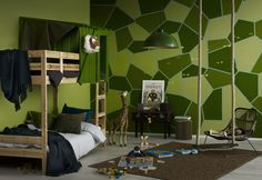 Jungle Fever! For your little explorers try creating this fun paint effect by blending green hues and masking tape to make the fun shapes