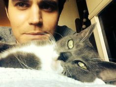 """Paul Wesley with animals ❤️"" Paul Wesley Vampire Diaries, Vampire Diaries The Originals, Men With Cats, Cat Leash, Mystic Falls, Stefan Salvatore, Tumblr, Delena, Baby Daddy"