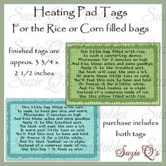 Instruction Tags for the Rice or Corn Filled Heating Pad (bags) - CU Digital Printable . Fabric Crafts, Sewing Crafts, Sewing Projects, Yarn Crafts, Quilting Projects, Craft Projects, Rice Heating Bags, Rice Warmers Diy Heating Pads, Homemade Heating Pad