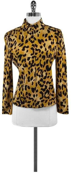 f95e25448ef2 St. John- Gold & Black Animal Print Zip Up Jacket Sz 4 Black Animals