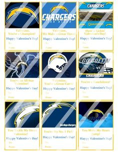 San Diego Chargers Printable Digital Valentines Day Cards #3