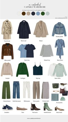 How to build a colorful capsule wardrobe - A neutral capsule wardrobe with splashes of analogue/calm colors - Capsule Wardrobe Examples, Capsule Wardrobe How To Build A, French Capsule Wardrobe, Capsule Outfits, Fashion Capsule, Travel Outfits, French Wardrobe Basics, Work Outfits, Minimal Wardrobe