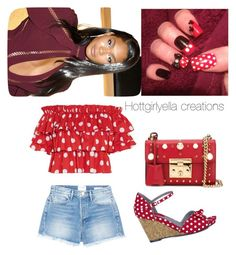 """""""Candy-cane collection 😉"""" by hottgirlyella ❤ liked on Polyvore featuring Frame, Caroline Constas, Ruby Shoo and Gucci"""