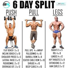 Push/Pull/Legs Split: Day Weight Training Workout Schedule and Plan Workout Splits, Gym Workout Tips, Weight Training Workouts, Workout Schedule, Cardio Gym, Workout Routines, Training Exercises, Total Gym Workouts, Exercise Workouts