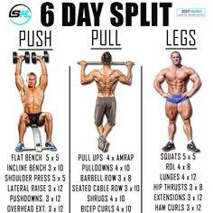Push/Pull/Legs Split: Day Weight Training Workout Schedule and Plan Weight Training Workouts, Gym Workout Tips, Workout Schedule, Cardio Gym, Workout Routines, Training Exercises, Exercise Workouts, Training Schedule, Street Workout