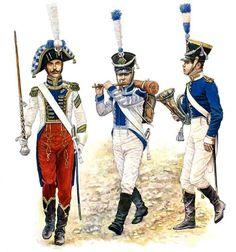 Kingdom of Westfalia - The band of the 9th Line Infantry Regiment, 1810 • Drum Major • Fusilier Fifer • Musician