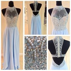 New Arrival Blue Prom Dress,Long Prom Dress,Beading Prom Gown,Backless Prom Dress,Crystal Prom Dress,Sexy Evening Dress