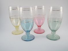 Wine Glasses set of 4 Pink Green Blue Yellow by MSMUnlimited