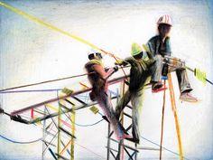 Yann Kebbi: Le thé ou l'électricité The New Yorker, Art Postal, Cool Sketches, Amazing Sketches, Sketch Journal, Urban Sketchers, Illustrations, Print Ads, Colored Pencils