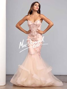 Blush Pink Couture Dress | Beaded Mermaid Dress | Mac Duggal 78907D