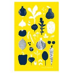 printed peanut, tea towel, illustration, print, pattern, design, food, cooking, spring, veg, drawing, two colour, texture