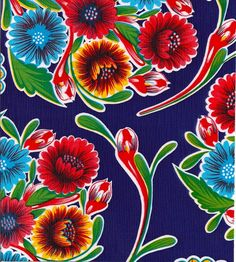 68 Round Oilcloth Tablecloth Bloom Royal Blue by freckledsage
