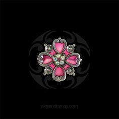 Au Bout Des Reves Ornate Deep Pink Flower Brooch ABR145 | Alexandra May Jewellery
