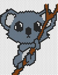 Baby Koala Hanging On A Branch bead pattern