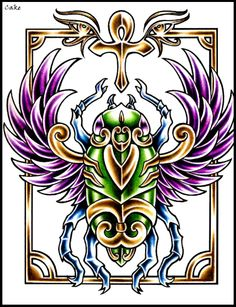 Scarab tattoo Love these colours