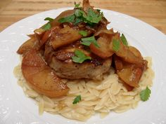 Pork Chops with Roasted Onions and Apples with Orzo