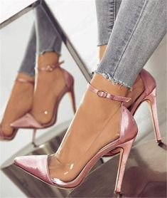 [£ Women's Fabric Stiletto Heel Pumps Closed Toe With Buckle shoes - VeryVoga - Women's style: Patterns of sustainability Ankle Strap High Heels, Lace Up Heels, Pink Heels, Glitter Heels, Ankle Straps, Heeled Boots, Shoe Boots, Women's Shoes, Shoes High Heels