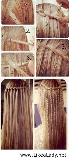 Waterfall plaits for long hair