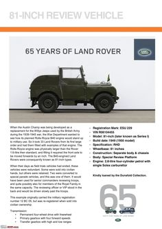 Land Rover is a car brand that specialises in four-wheel-drive vehicles, owned by British multinational car manufacturer Jaguar Land Rover, which has been Advertising History, Car Advertising, Range Rover Off Road, 65th Anniversary, Jaguar Land Rover, Land Rover Defender 110, Toy Trucks, Old Ads, Land Rovers