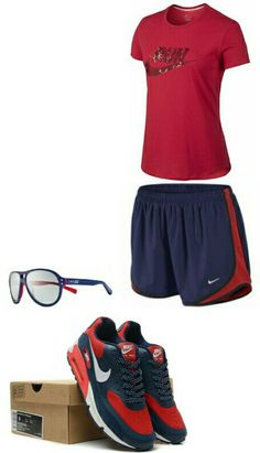 Women's fashion red Blue nike outfit