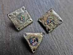 Polymer clay connectors with crackle by fancifuldevices