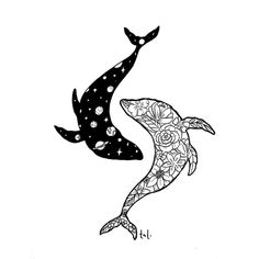 Cosmic, floral whales
