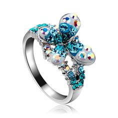 Crystal rings Korean jewelry gift-new female Butterfly Kiss